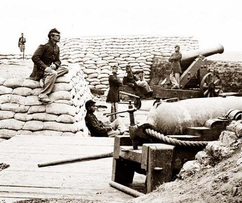 A sandbagged military position during the American Civil War.