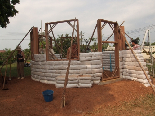 Earthbag Roundhouse Under Construction