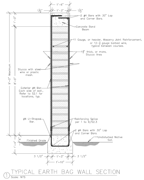 Reinforced Earthbag Wall Section for Seismic Areas (click to enlarge)