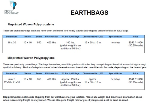 Pacific Packaging Earthbag Specifications