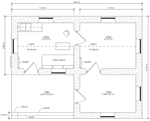 $300 Earthbag House with Additions (click to enlarge)