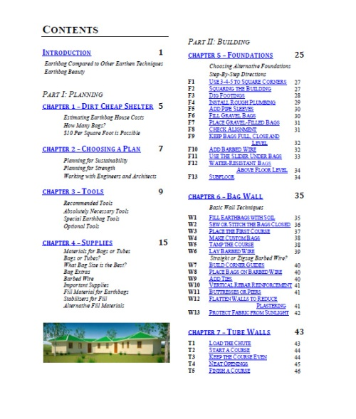Earthbag Building Guide Table of Contents 1 (click to enlarge)