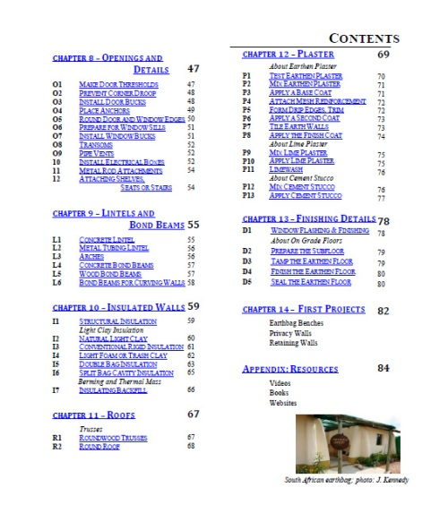 Earthbag Building Guide Table of Contents 2