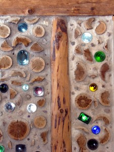 cordwood and bottle wall detail