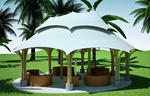 A 28'x37' bamboo gazebo is the social center and focal point of each Mindfulness Project housing cluster.