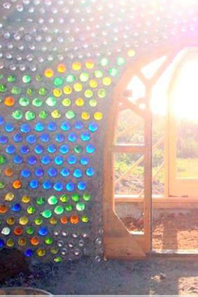 Bottle wall photo at Christina Atkins' Pinterest site
