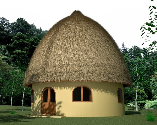 Hobbit House with haystack roof (click to enlarge)