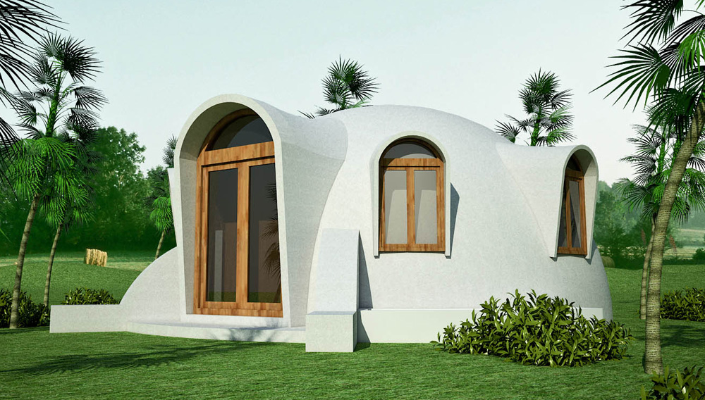 Disaster-resistant hemispheric dome made with double ferrocement shells  with insulating fill (click to