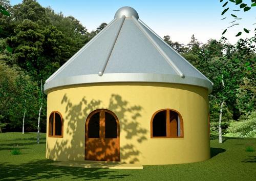 Grain Bin Roof on Hobbit House (click to enlarge)