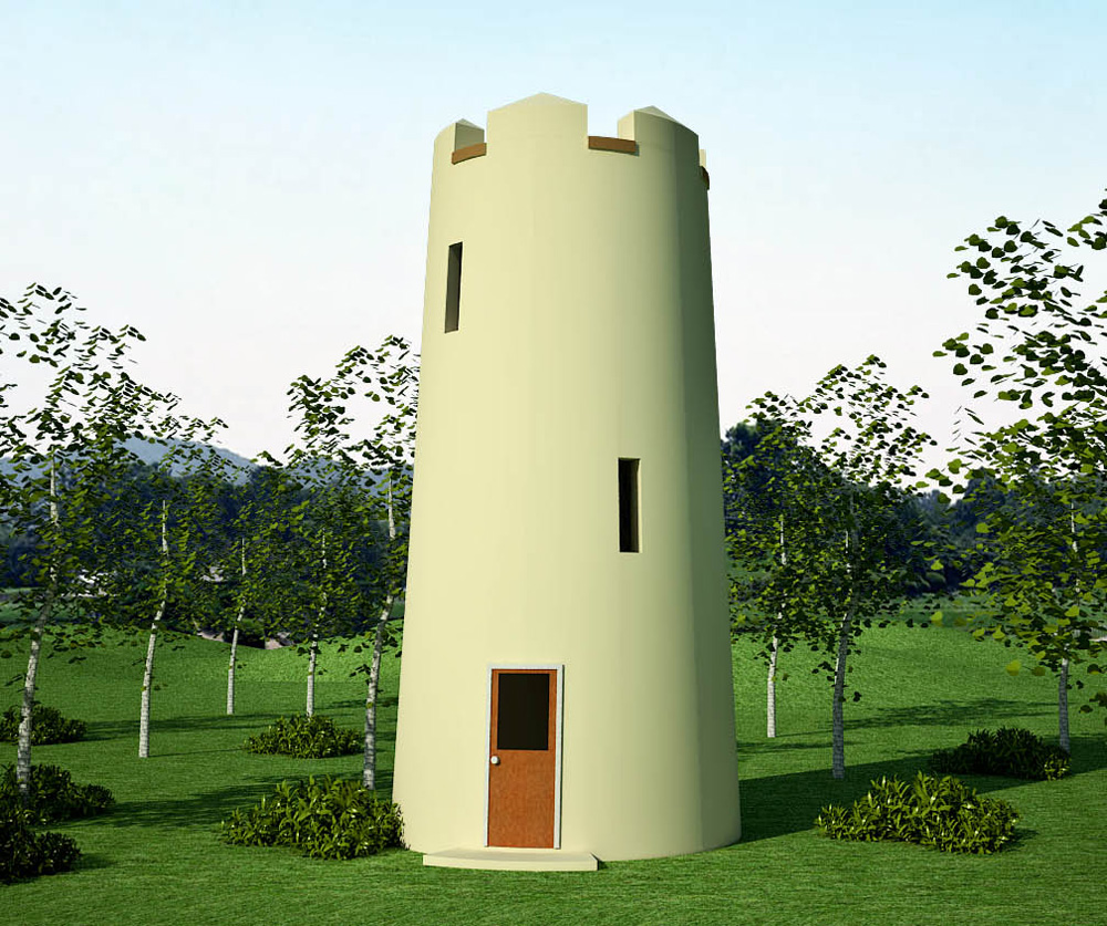 observation tower and round guard tower earthbag house plans