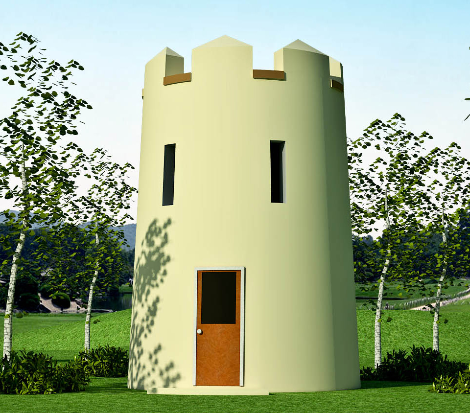 tower design   Earthbag House PlansRound Guard Tower  click to enlarge