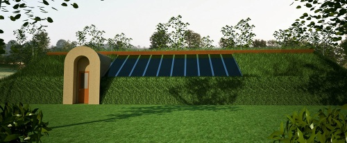Modern Solar Pit House for extremely cold climates (click to enlarge)