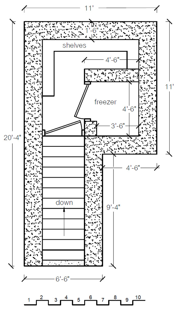 Earthbag rootcellar plan (click to enlarge)
