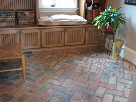 Brick flooring made from salvaged building bricks