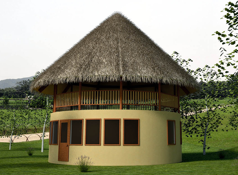 Hobbit House with 2nd story Open-air Deck (click to enlarge)
