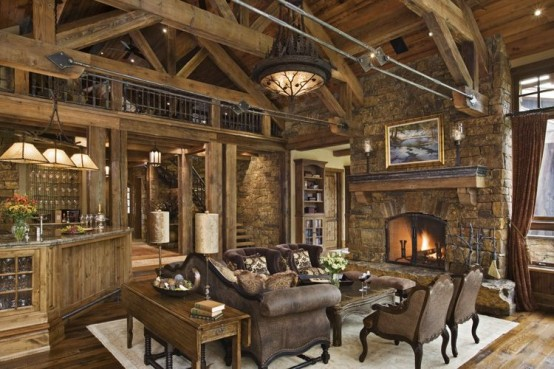 Locati Architects Used Reclaimed Wood To Create This Fabulous Living Room In Luxurious Mountain Home