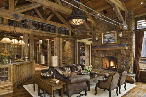 Locati architects used reclaimed wood to create this fabulous living room in this luxurious mountain home