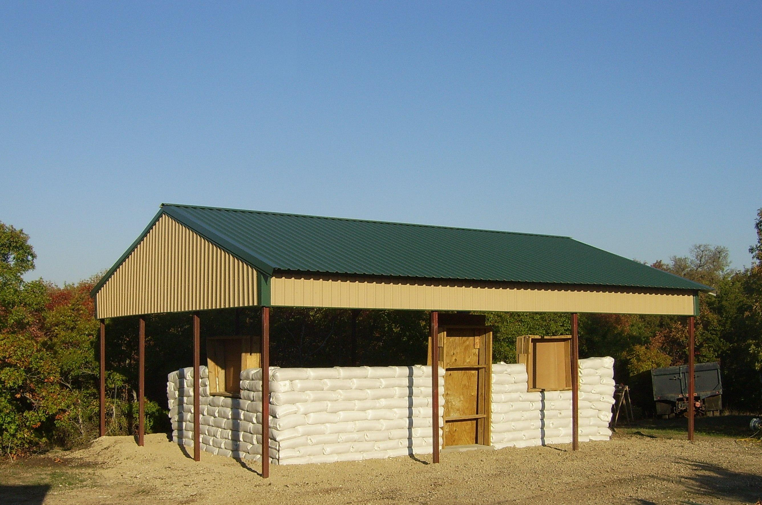 The 'Earthbag Shield' covers and protects earthbag homes.