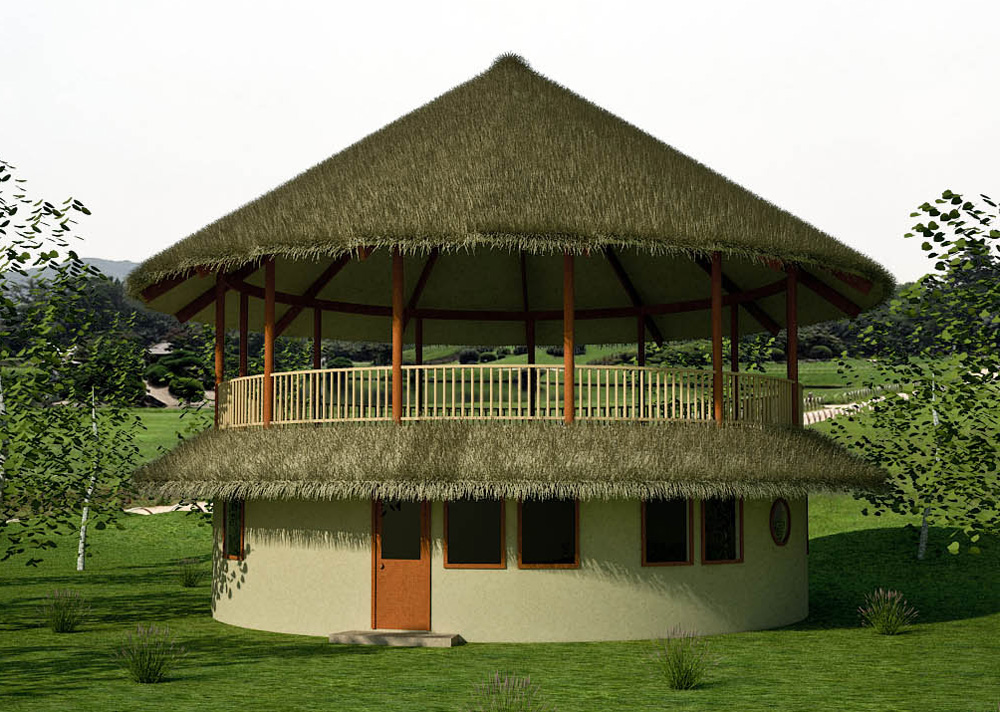33 10m roundhouse with open air 2nd story natural for Building a 2 story house