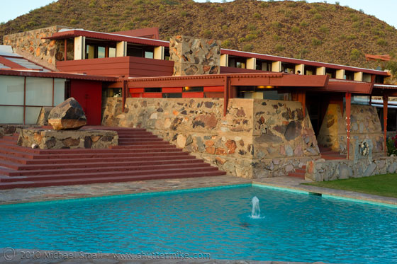 Taliesin West stonework made with dry-pack concrete