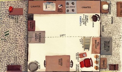 """Cabin plan from """"Twelve by Twelve"""" by author Bill Powers"""