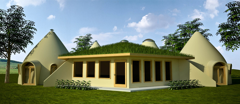 Earthbag Lodge with Domes (click to enlarge)