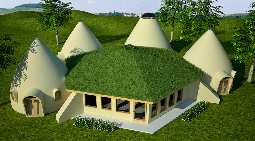 Earthbag lodge with domes natural building blog for Earthen home designs