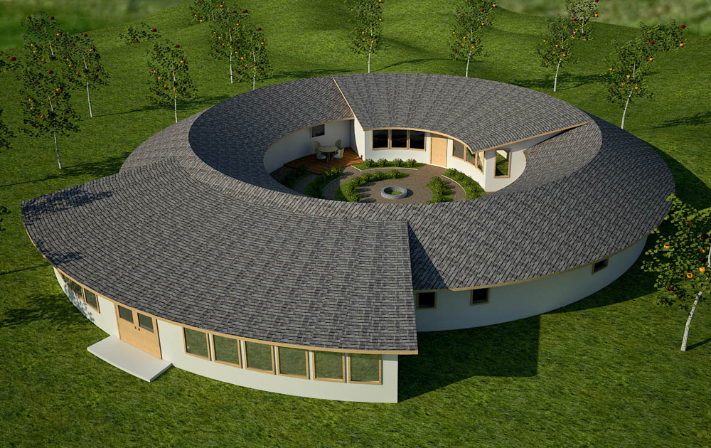 Roundhouse earthbag house plans for Round home plans