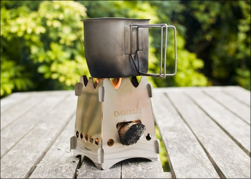 Emberlit twig burning camp stove