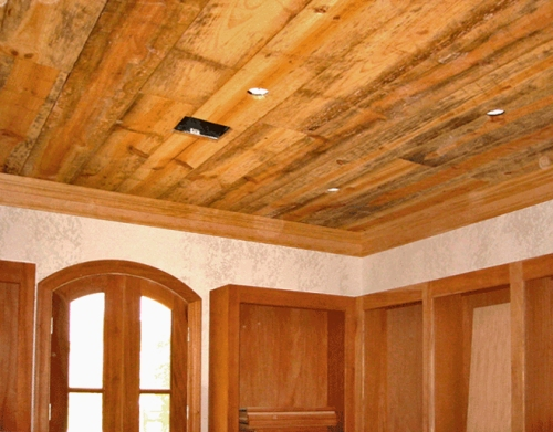 Barnwood ceiling by Stout Carpentry