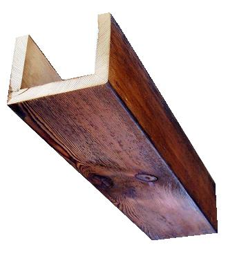Box beams are made of three or four pieces of wood nailed together to create a decorative effect.