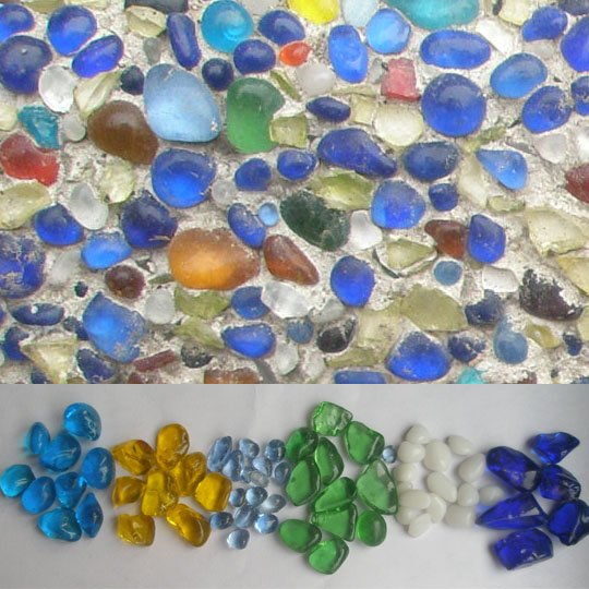 Glass colored beads can be added to plaster to create dazzling color and shine.