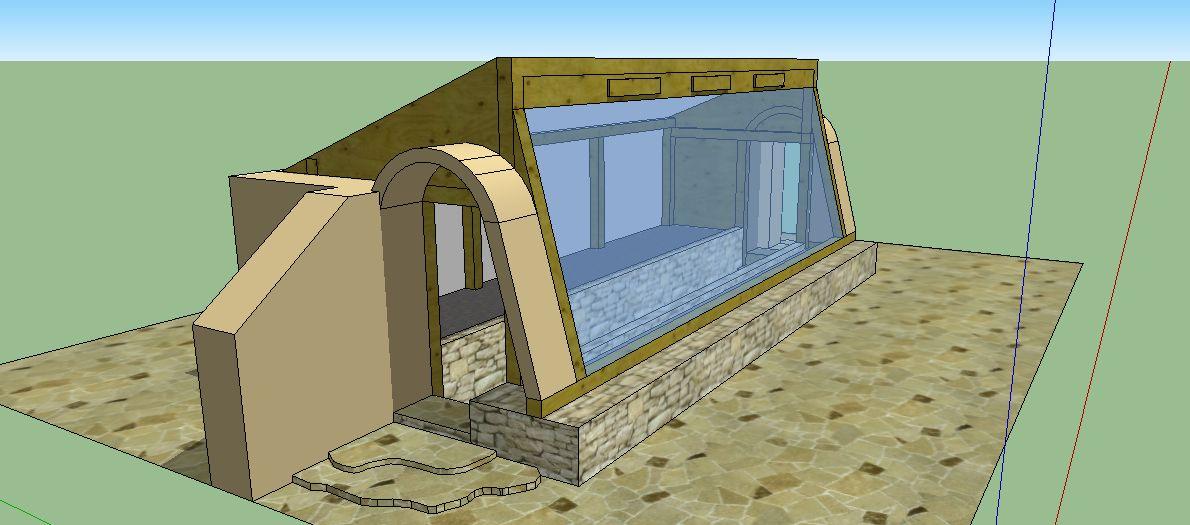 Earth sheltered passive solar earthbag greenhouse for Passive solar cabin design