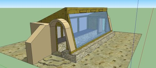 Earth-sheltered Passive Solar Earthbag Greenhouse (click to enlarge)