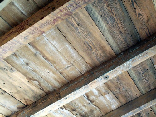 Open beam ceiling by Vintage Timberworks