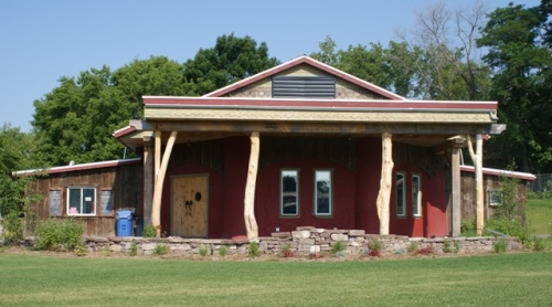 The Arts Center Hastings includes earthbag foundation, straw bale walls and many other sustainable features.
