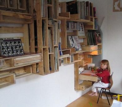 Pallet wood shelving unit with built-in desk