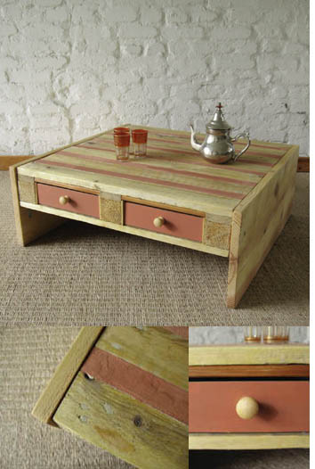 Coffee table made from discarded pallets
