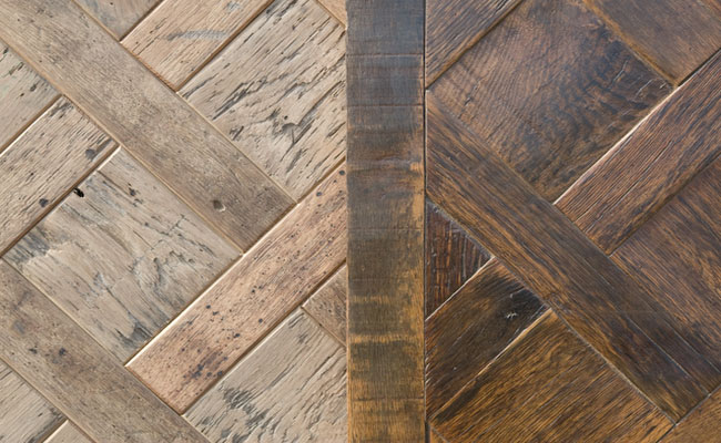 Parquet flooring can be made with recycled pallet wood or other recycled woods.