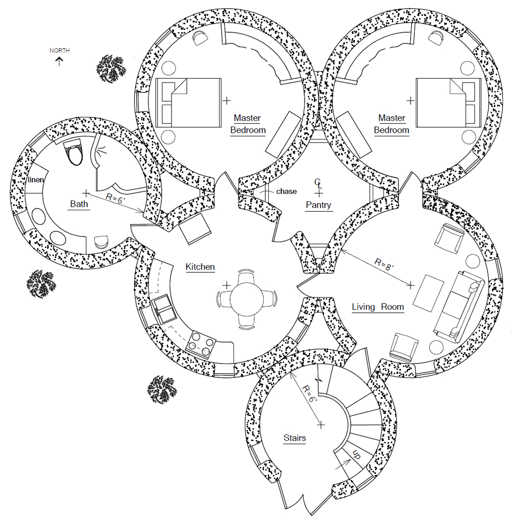 Round earthbag house plans for Circular house floor plans