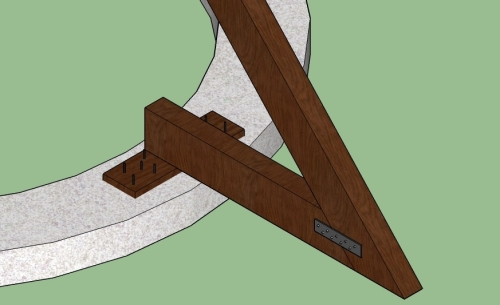 Attach rafters to braces that are embedded between courses of earthbags. (click to enlarge)