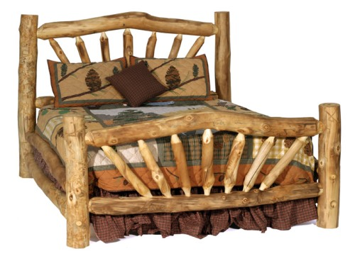 Rustic log bed by Blue Ridge Log Works