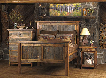 Rustic bed made from reclaimed wood by Mountain Woods Furniture