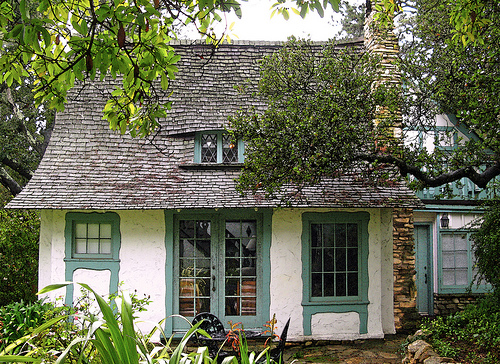 Fairytale Cottages of Carmel-by-the-Sea. Built in 1925, this home combines adobe brick, Carmel stone and hand carved trim to create a fairytale artistic look.