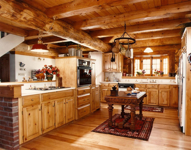 All Wood Kitchens on Post And Beam Barn Home Kitchen