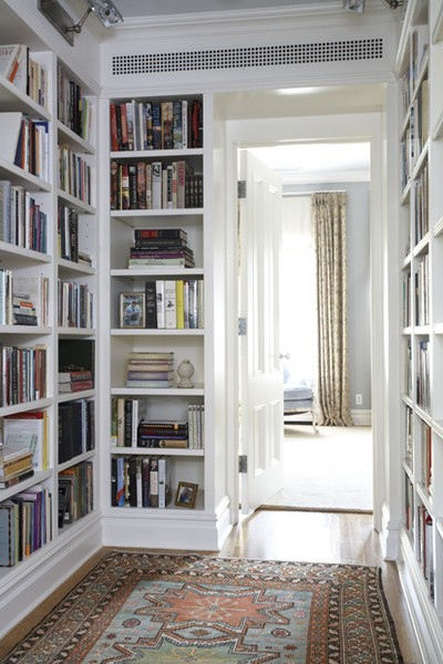 Built-in bookshelves and storage