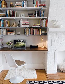 bookshelf plans around fireplace