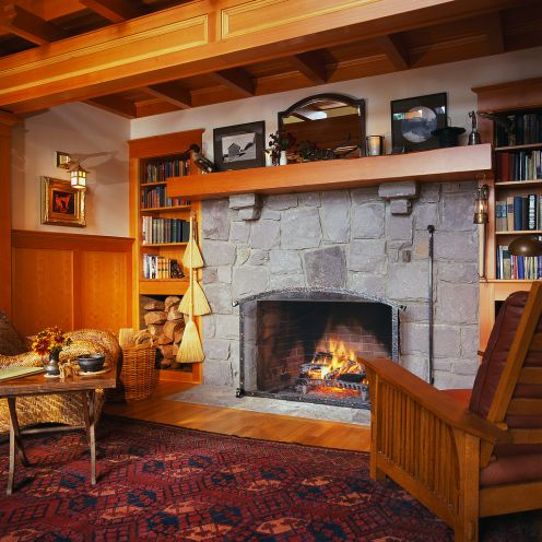 Built-in shelving by fireplace