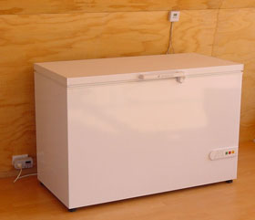 Chest fridge that consumes about 0.1 kWh per day or about $5 worth of electricity per year.