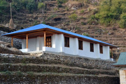 The first of three earthbag schools in Nepal, built by Edge of Seven and The Small World.